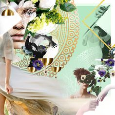 Fashion collage girl magic of mountains, withch, song of nature, flowers
