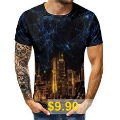 Star #Nightscape #3D #Short #Sleeve #T-shirt