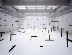 Esther Stocker #black and white #installation #lines #gallery