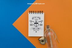 Notepad and bottle Free Psd. See more inspiration related to Mockup, Travel, Summer, Paper, Bottle, Mock up, Drawing, Rope, Compass, Adventure, Decorative, Tourism, Vacation, Trip, Holidays, Notepad, Journey, Up, Traveling, Items, Composition, Mock, Summertime and Touristic on Freepik.