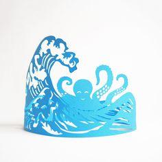Paper Crowns #ocean #design #octopus #gift #sculptures #lasercut #handmade #art #birthday #blue #paper #party