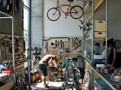 Coffee Coalition: Cycling Cafés | WeAreYourStudio's Blog SEB: shelving #cafe #cycling #workshop #bike
