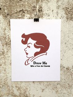Draw Me - 8 x 10 Mini Poster #kitsch #retro #illustration #vintage #etching #matchbook #drawing