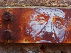 Chimes&Rhymes | innovative design and new techniques in visual artistry #old #white #iron #rust #stencil #paint #man #spray