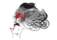 Demon #red #woman #black #illustration #demon