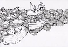 how to not get upset. - Hamburg 08 / 2010. #white #boats #grayscale #black #illustration #sea #fishermen #hamburg
