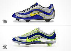 NIKE, Inc. Nike Celebrates 15 Years of Mercurial with Recreated '98 El Fenómeno Boot #nike #mercurial #soccer