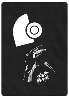 Daft Punk #punk #black&white #design #daft #minimal #poster #art