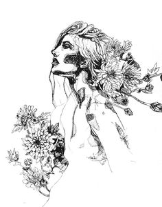 Afflorescence - Kate Melrose #flowers #nature #girl #pen #ink #black and white #drawing