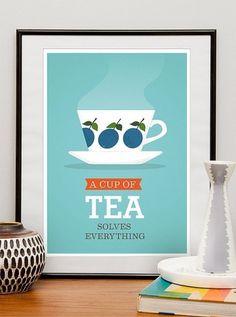 Tea Print Kitchen art mid century modern poster tea cup by handz