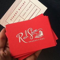 Red Shoe Productions logo / business cards #lettering #red #script #business #branding #lines #productions #letterpress #hand #shoe #logo #converse #chucks #sweet #identity #type #cards #badass #cool
