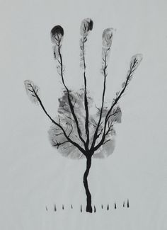 """Saatchi Online Artist: Ahmed Al Safi; Pen and Ink, Drawing \""""Man\'s Hand Tree! \"""""""