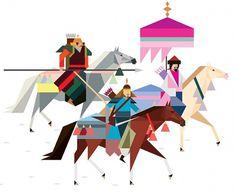 Ilustraciones Minimalistas de Rob Bailey | Camionetica.com | Cultura Visual y Proyectos Creativos #rob #ollitsrtation #minimalistic #color #bailey #geometric #medieval #warrior