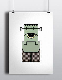 Frankenstein #illustration #minimal #character #robots #creatures #characters #aliens #outline #stroke #frankenstein