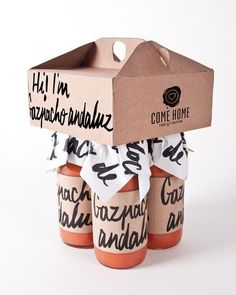 Gazpacho Andaluz #packaging #handdrawn #bottles #kraft