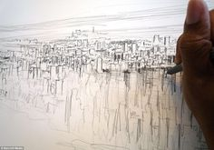 Stephen's drawings of Tokyo, Rome and Hong Kong have dumbfounded art lovers around the world #memory #wiltshire #autistic #york #stephen #skyline #new