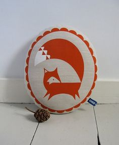 Hand Screen Printed Fox in Burnt Orange by robinandmould on Etsy