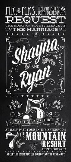Wedding Invitations #invitations #chalkboard #vintage #invites #type #wedding #typography