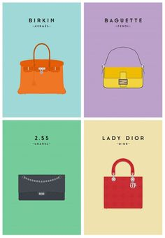 Iconic Bags Illustrations #design #illustrations #minimal #fashion #minimalist