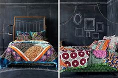 Transform your Bedroom with Colorful Bedding | papernstitch #anthropologie #chalk #board