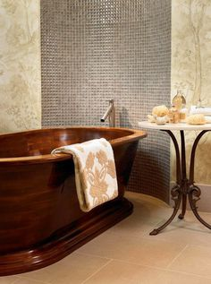 Artistic tiles in modern bathroom with bathtub #interior #house #artistic #decor #art #paintings #residence