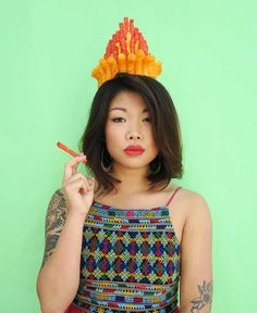 Flour Crowns: Delicious Food Crowns Self-Portraits by Lauren Hom