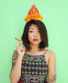 Flour Crowns: Delicious Food Crowns Self-Portraits by Lauren Hom
