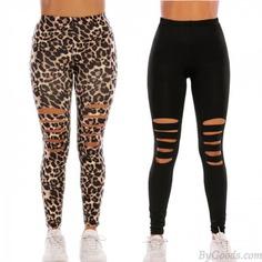 Fashion Black Leopard Print Tight Knee Hole Leggings High waist Elasticity Yoga Pants Teen Leggings