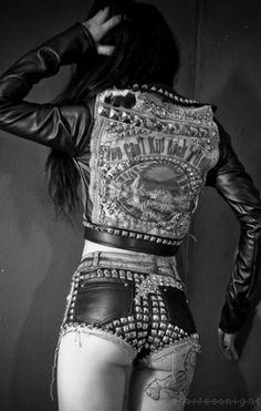WHITE BLACK GREY #spikes #white #girl #black #leather #butt #babe #grey