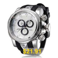 Men'S #Creative #Fashion #Big #Dial #Chronograph #Silicone #Quartz #Sport #Watch #- #SILVER