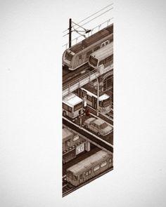 Evan Wakelin's drawings and stuff #train #bahn #in #threadless #illustration #berlin
