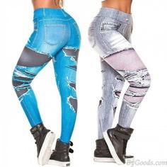 Fashion Denim Digital Ragged Jeans Printed Hip-lifting Stretch High-waist Women's Leggings