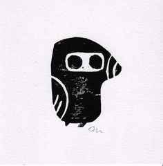 Mole Lino Print Card - Folksy #black and white #mole #lino print