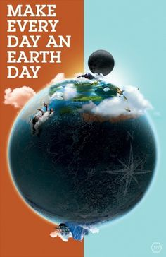 Earth Day Illustration on the Behance Network #design #orange #earth #illustration #photoshop #moon #blue #typography