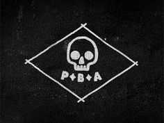 PBA #beer #label #logo #pba #grunge #type #skull #drawing