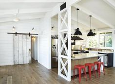 Lisa Collins, Studio One | San Francisco Interiér #interior #white #barn #home #stool #wood #kitchen