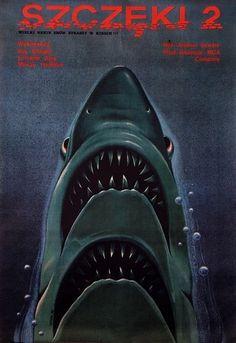 "Designersgotoheaven.com - ""Szczeki 2"" (""Jaws 2""):... - Designers Go To Heaven #jaws #2 #shark"