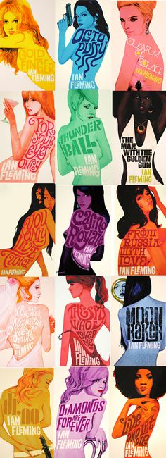 Gorgeous Illustrated James Bond book covers #design #illustration #book cover #james bond