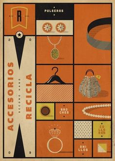 Dribbble - recicla_accesorios.jpg by Martin #print #recicla #second #vintage #ilustration #poster #hand