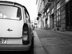 Old trabant in Budapest #white #trabant #budapest #black #and