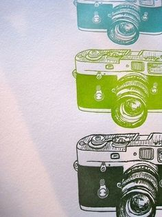 letterpress leica cameras by bittersugar on Etsy #illustration #cameras #letterpress #leica