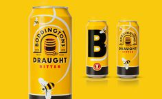 Boddingtons #beer #packaging #yellow #bee #black #honey #can