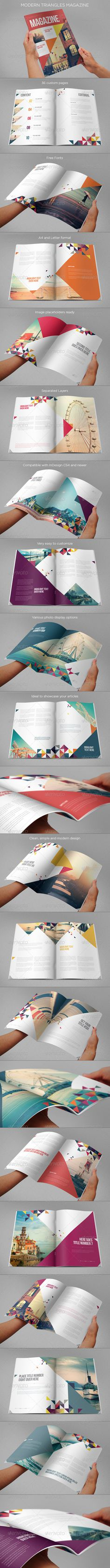 Modern Triangles Magazine - Magazines Print Templates #layout #magazine
