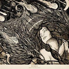 """Days Of The Fallen Sun"" album cover art for Junius, illustrated by Adrian Brouchy #Junius #Music #Illustration #AdrianBrouchy"
