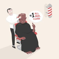 #Illustration #wolfman #character #barber #vector