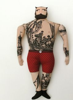 photo #sailor #beard #horned #retro #dots #devil #tattoo #vintage #horns #man #character #toy