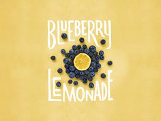 lemon, blueberry, typography, lemonade
