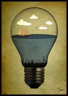 life in a bulb by ~natdatnl on deviantART #illustration #ship #idea #texture