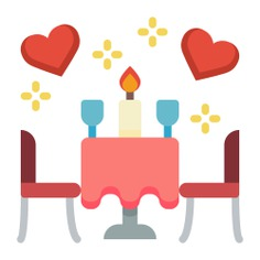 See more icon inspiration related to dinner, wine, love and romance, furniture and household, romantic dinner, date, table, cups, love and bottle on Flaticon.