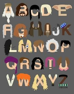 harry potter alphabet #harry #design #potter #digital #illustration #alphabet #cartoon